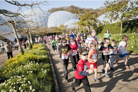 Cub Scouts running at the Eden Project